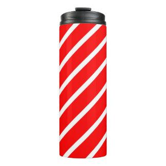 Thermisches Trommel-Rot mit weißen Streifen Thermosbecher