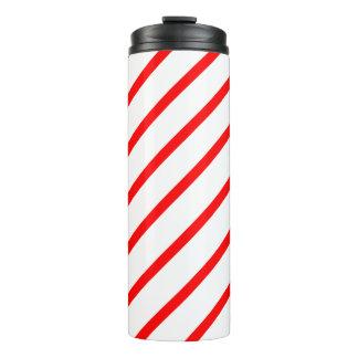 Thermisches Trommel-Weiß mit roten Streifen Thermosbecher