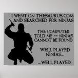 Thesaurus Ninjas lustiges Ninja Plakat-Zeichen
