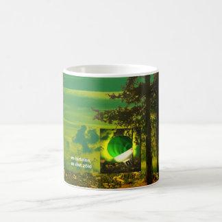 think green mug - hungarian text tasse