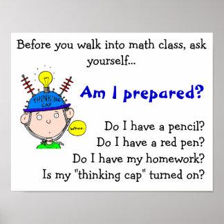 thinking-cap.gif, bevor Sie in Mathe cla… gehen Poster