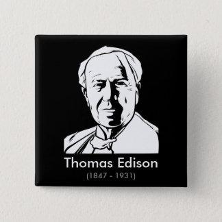 Thomas Alva Edison - wirkliches Genie Quadratischer Button 5,1 Cm