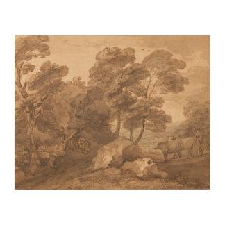 Thomas Gainsborough - Landschaft mit Kühen Holzleinwand