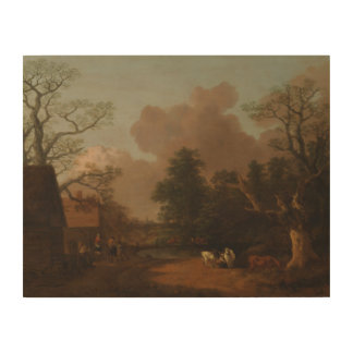 Thomas Gainsborough - Landschaft mit Milkmaid Holzwanddeko