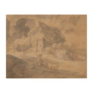 Thomas Gainsborough - offene Landschaft mit Zahlen Holzleinwand
