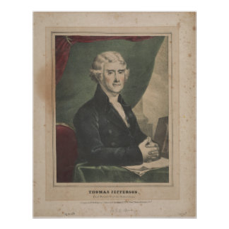 THOMAS JEFFERSON 3. US Präsident Litho Poster