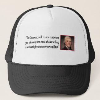Thomas Jefferson - Zitat-Demokratie Truckerkappe