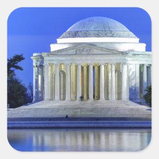 Thomas- Jeffersondenkmal nachts Quadratischer Aufkleber