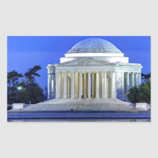Thomas- Jeffersondenkmal nachts Rechteckiger Aufkleber