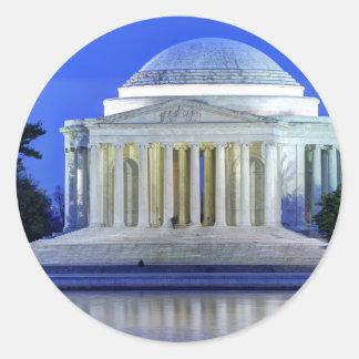 Thomas- Jeffersondenkmal nachts Runder Aufkleber