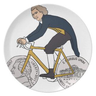Thomas- Jeffersonreitfahrrad mit Nickel-Rädern Melaminteller
