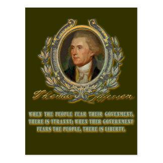 Thomas- Jeffersonzitat:  Regierung u. die Leute Postkarte