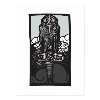 Thor und Mjolnir Postkarte