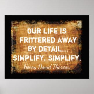 Thoreau Zitat - unser Leben -- Kunst-Druck Poster
