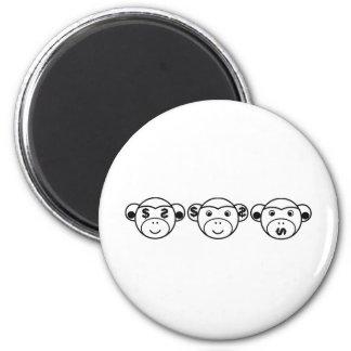 Three Unwise Monkeys (Dollar, black) Runder Magnet 5,7 Cm