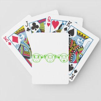 Three Unwise Monkeys (Dollar, green) Bicycle Spielkarten