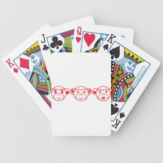 Three Unwise Monkeys (Dollar, red) Bicycle Spielkarten