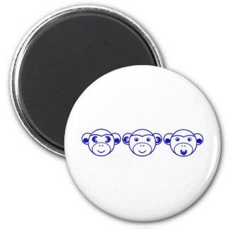 Three Unwise Monkeys (Euro, blue) Runder Magnet 5,7 Cm