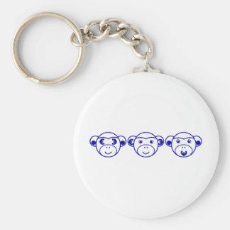 Three Unwise Monkeys (Euro, blue) Schlüsselanhänger