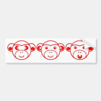 Three Unwise Monkeys (Euro, red) Autoaufkleber
