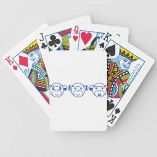 Three Unwise Monkeys (Pound, blue) Bicycle Spielkarten