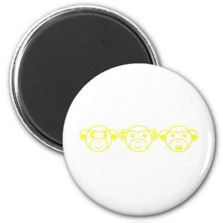 Three Unwise Monkeys (Pound, yellow) Runder Magnet 5,7 Cm