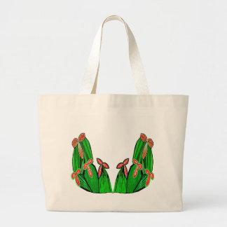 Threme Grün - exotische KAKTUS Blumen Jumbo Stoffbeutel