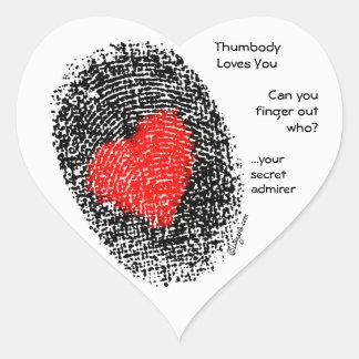Thumbody Lieben Sie Herz-Aufkleber