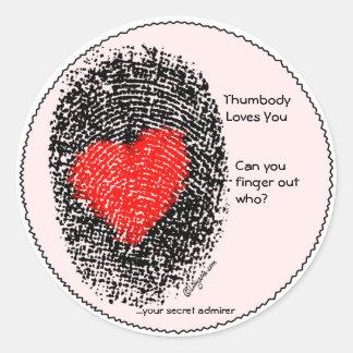 Thumbody Lieben Sie Herz-Fingerabdruck-Aufkleber Runder Aufkleber