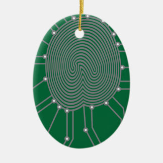 Thumbprint mit Leiterplatte-Illustration Ovales Keramik Ornament