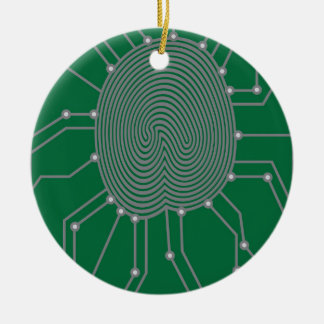 Thumbprint mit Leiterplatte-Illustration Rundes Keramik Ornament