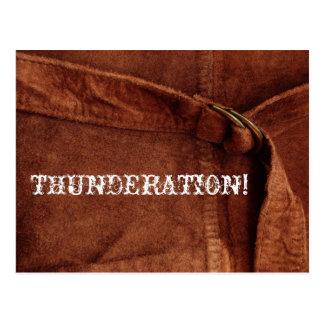 THUNDERATION! alter-timey weißer Text auf Postkarte