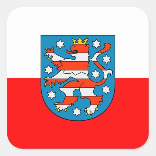 Thüringen Landesflagge Quadratischer Aufkleber
