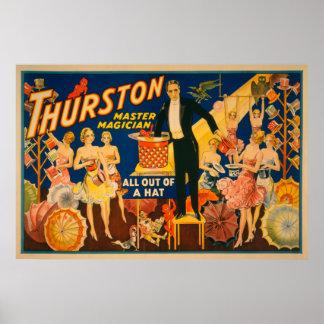 """Thurston, Vorlagenmagier """"aus einem Hut heraus"""" Ma Poster"""