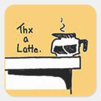 Thx ein Latte Logo Quadratischer Aufkleber