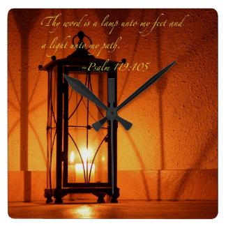 Thy Wort ist eine Lampe… Quadratische Wanduhr