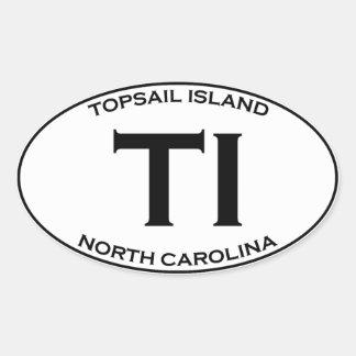 TI - Topsail Insel-North Carolina Ovaler Aufkleber