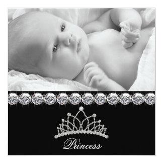Tiara-Prinzessin Baby Birth Announcements Quadratische 13,3 Cm Einladungskarte