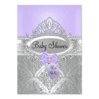 Tiara-u. Silber-Damast-laden lila Baby-Dusche ein 11,4 X 15,9 Cm Einladungskarte