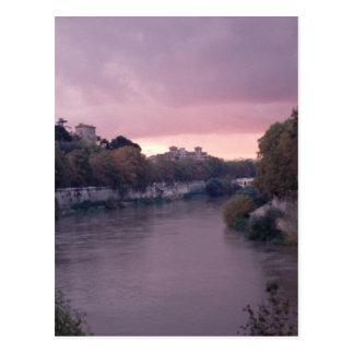 Tiber-Fluss an der Sonnenuntergang-Postkarte Postkarte
