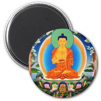 Tibetaner Thangka Prabhutaratna Buddha Runder Magnet 5,7 Cm