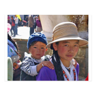 Tibetanische Frau mit Kind Postkarten