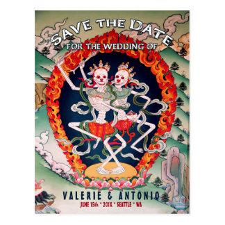 Tibetanische Skelette, die Save the Date Postkarte