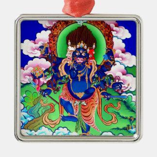Tibetanischer Buddhismus buddhistisches Thangka Quadratisches Silberfarbenes Ornament