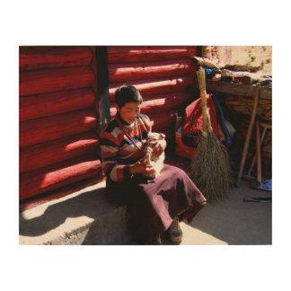 Tibetanischer Junge Holzleinwand