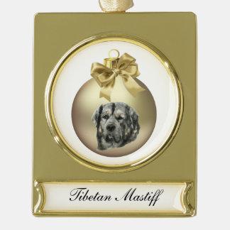 Tibetanischer Mastiff Banner-Ornament Gold