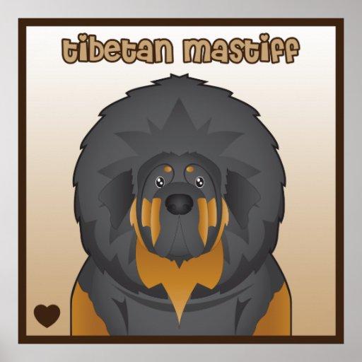 Tibetanischer Mastiff-Cartoon Poster