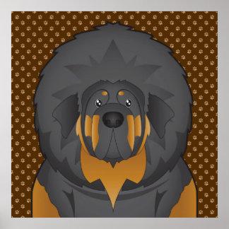 Tibetanischer Mastiff-HundeCartoon-Tatzen Plakatdruck