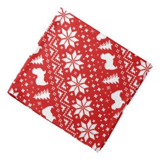 Tibetanisches Spaniel-Silhouette-Weihnachtsmuster Kopftücher