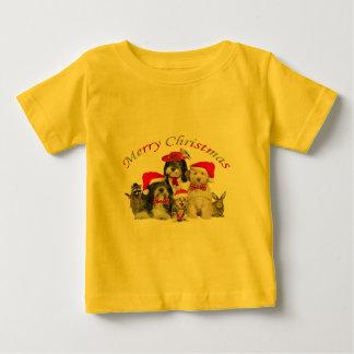 Tibetanisches Terrier-Weihnachten mit Freunden Baby T-shirt